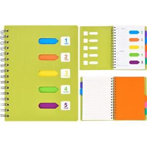 Maxdot Lined Spiral Notebook Planner Journal With 5 Divider Tabs For Note