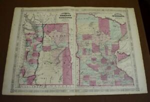 Original 1865 Antique Johnson Hand Colored Map Of Oregon Wash