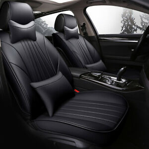 Universal Car Seat Cover 5 seat W Headests cushions Luxury Edition Pu Leather