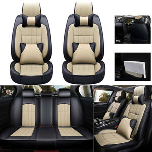 Suv Auto Car Seat Covers Luxury Pu Leather cushions Headest Pillows Us 5 seats