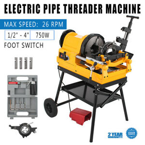 Pipe Threading Machine Foot Switch 1 2 4 10 26rpm 750w 110v Self oiling Pro