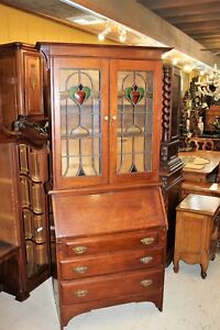 Antique English Mahogany Arts Crafts Stained Glass Secretary Desk Bookcase