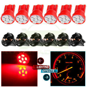 6x Twist Socket T10 Led Instrument Cluster Dash Red 6smd Light Bulb Pc168 Pc194