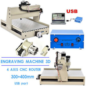 3040 Usb 4 Axis Cnc Router Engraver Wood Milling Engraving 3d Cutter Machine Usa
