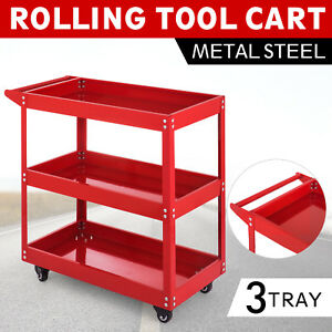 Metal Rolling Tool Cart Storage Chest Box Wheels Storage Trays