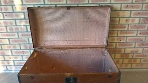 Antique Old Wooden Ship Chest Box W Working Lock And Key Brocante Vintage Rare