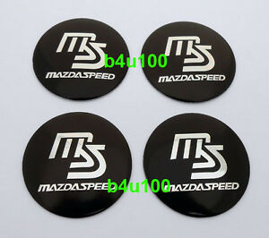 4pcs Wheel Center Hub Caps Emblem Sticker For Mazda 56mm Speed Ms Black B5611