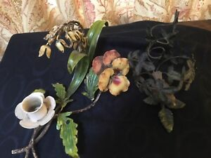 2 Vintage Italian Tole Candle Holder Bird Pansy Lilly Of Valley One Figural