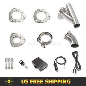 2 Electric Exhaust Valve System Dump Valve Ss Y pipe W Remote manual Switch