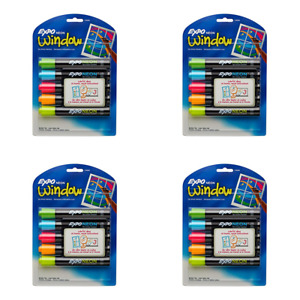 Expo 1752226 Neon Dry Erase Markers Bullet Tip Assorted Colors pack Of 4