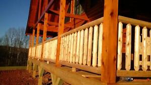 Log Railing And Spindles northern White Cedar 3 X 8 Section