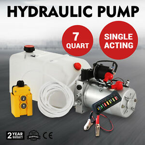 7l Quart Single Acting Hydraulic Pump Dump Trailer Lifting 12v Crane