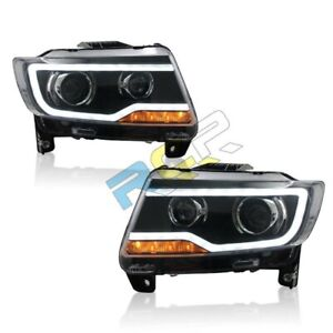 Hid Headlights For 2011 2013 Jeep Grand Cherokee Front Bumper Led Bi Xenon Lamps
