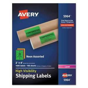 Avery Neon Shipping Label Laser 2 X 4 Neon Assorted 1000 box 072782059644