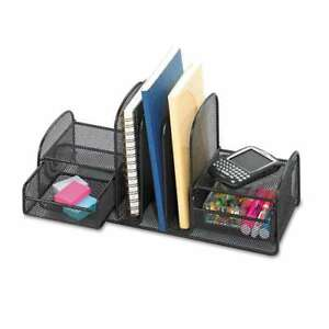Safco Onyx Mesh Desk Organizer Three Sections two Baskets 17 X 073555326321