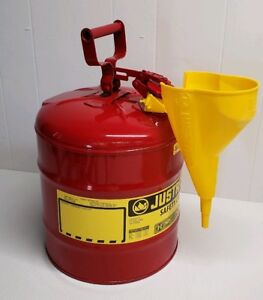 Justrite 7150110 5 Gallon Type 1 Red Steel Gas Fuel Can With Funnel