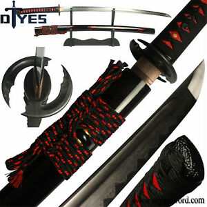 Damascus Folded Steel Clay Tempered Blade Japanese Samurai Katana Sword Sharp