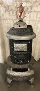 Antique Round Oak Parlor Stove Doe Wah Jack Indian Finial Estate Pd Beckwith Dd