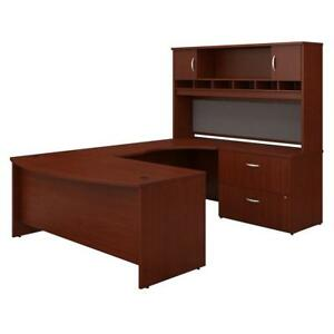 Series C 72w Right Handed Bow Front U Shaped Desk With Hutch And Storage