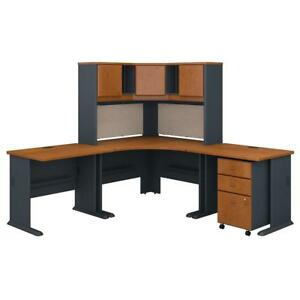 Series A 84w X 84d Corner Desk With Hutch And Mobile File Cabinet