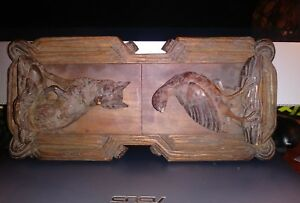 Antique Black Forest Carved Wood Folding Expanding Bookrack Book Stand Fox