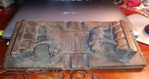 Antique Black Forest Carved Wood Folding Expanding Bookrack Book Stand Bears