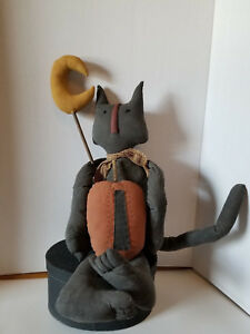 Primitive Halloween Black Cat With Pumpkin And Moon New