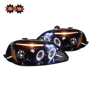 For 96 98 Civic Halo Projector Headlights Led Drl Black Housing Smoked Lens