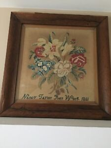 Vintage Counted Cross Stich On Linen Floral Dated 1861