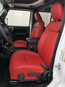 2018 19 Jeep Wrangler Jl Red Diamond Perforated Leather Seat Covers Sahara Sport