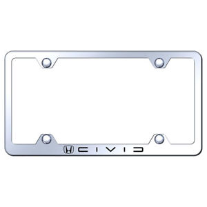 Wide Body License Plate Frame With Honda Civic Reverse C Name On Steel