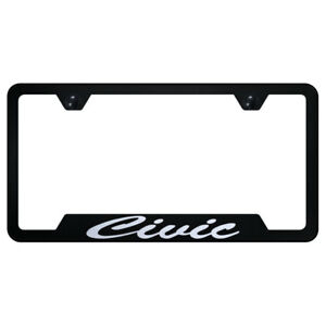 Cut out License Plate Frame With Honda Civic Script On Black licensed