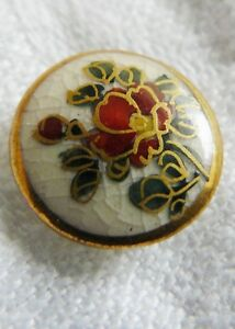 Antique Japanese Meiji Period Hand Painted Satsuma Button Red Flower Blossom