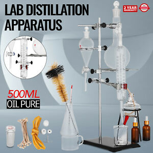 500ml Essential Oil Steam Distillation Apparatus Kit Oil Pure Water Glassware