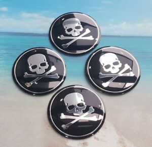 X4 2 2 56mm Metal Skull B S Emblem Wheel Center Hub Caps Sticker Universal