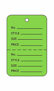 3000 Perforated Tags Price Sale 1 X 1 Two Part Lime Green Unstrung Tag Small