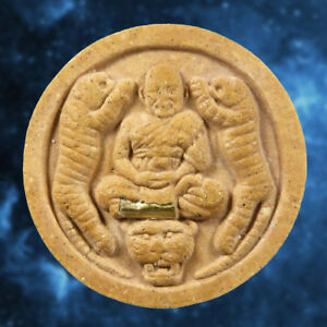Thai Amulet Powerful Buddha Phra Lp Pern Twin Tiger Rare Wealth Talisman Lucky