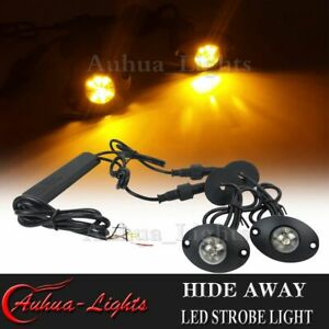 2in1 12w Led Hide Away Emergency Warning Flashing Vehicle Strobe Kit Light Amber