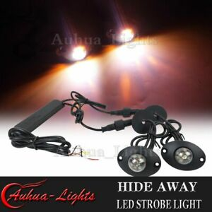 2in1 12w Led Hide Away Warning Security Patrol Vehicle Strobe Light Amber White