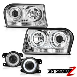 2009 2010 Chrysler 300 Touring Chrome Halo Led Headlights Projector Driving Fog