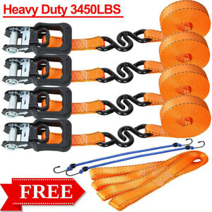 Ratchet Straps Tie Down Kit 4 Pack 1 25 X15 3450lb For Moving Motorcycle Cargo