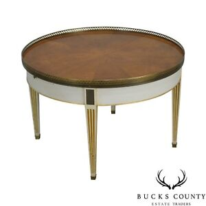 Baker Vintage Regency Directoire Style Round Painted Bouillotte Coffee Table