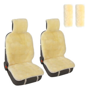 Auto Genuine Sheepskin 2 Seat Cushion With 2 Seat Belt Pad Covers Champage