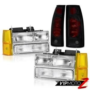 1994 1998 Gmc Sierra Headlamps Bumper Darkest Smoke Taillights Oe Style Assembly