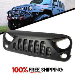 Front Grill Grille Skull Style Matte Black For Jeep Wrangler Jk Years 07 To 17