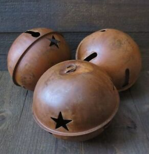 3pc Lot Huge 7 Inch Rusty Jingle Bell Primitive Decor Rustic Country Star Cutout