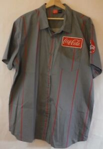 Cola Coca Men's Grey with red stripes button down short sleeve shirt XXL