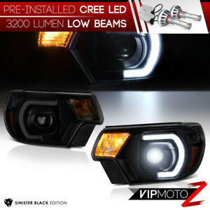 Cree Led Bulb 12 15 Toyota Tacoma Black Smoked Drl Tube Projector Headlight