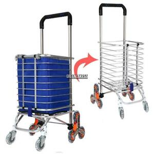 Portable Shopping Cart Bag Foldable Luggage 8 Wheels Trolley Stair Climb