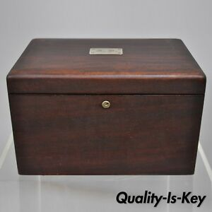 Antique Mahogany Cigar Humidor With Silver Plaque Milk Glass Lining A
